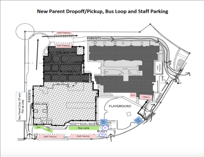 Map - New Parent Drop-off/Pickup, Bus Loop, Staff Parking